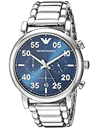 Mens Chronograph Quartz Stainless Steel Casual Watch, Color:Silver-Toned (. Emporio Armani