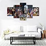 Yatsen Bridge 5 panels Framed Wall Art Decoration Oil Painting,Retro Saint with Jesus Classicism Religious Christian Canvas Wall Pictures for Living Room (50''Wx24''H)