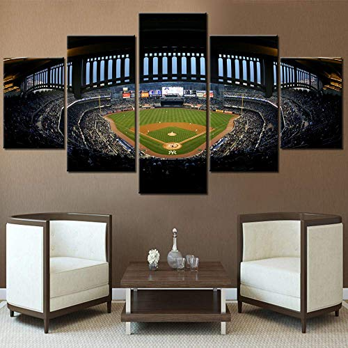 JESC 5 Panel Canvas New York Yankee Stadium Paintings Wall Art Home Decor Wooden Framed Gallery-Wrapped Ready to Hang