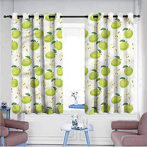 VIVIDX Window Curtains,Apple,Cartoonish Fruit Anatomy,Blackout Draperies for Bedroom,W63x63L