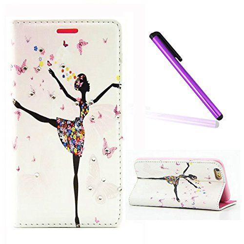 "iPhone 6S Case,iPhone 6 Case,iPhone 6/6S Wallet Case,EMAXELER[Butterfly Fairy][Flower]Inlaid Shiny Glitter Diamond Pu Leather Flip Protective Cover with Stand For iPhone 6/6S(4.7"")Dance Girl"