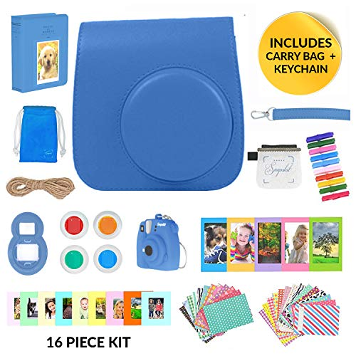 9 Camera Accessories - 16 Piece Kit Includes: Protective Case + Strap, 2 Photo Albums, Keychain, Emoji Stickers, Selfie Lens, Magnets, Hanging Frames, Gift Box (cobalt Blue) ()