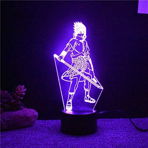 luz de noche 3d 7 colores cambiantes led 3d Uchiha Sasuke lámpara ...
