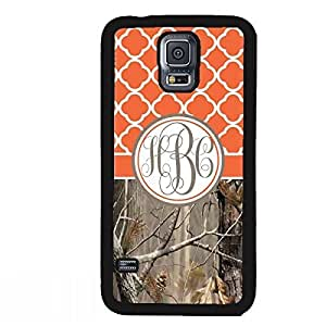 Country Girl Orange Camo Quatrefoil MONOGRAM CASE COVER FOR SAMSUNG GALAXY S5