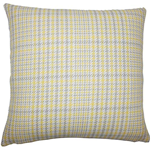 The Pillow Collection Kalle Plaid Floor Pillow Jonquil