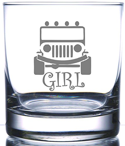 IE Laserware Girls Jeep Too! Laser Etched Engraved Rocks Glass, 12.5 Ounce Whiskey, Bourbon Glass For Jeep Lovers