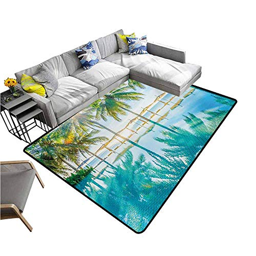 Slip-Resistant Washable Entrance Doormat Landscape,Pool by The Beach with Seasonal Eden Hot Sunny Humid Coastal Bay Photography,Green Blue 80
