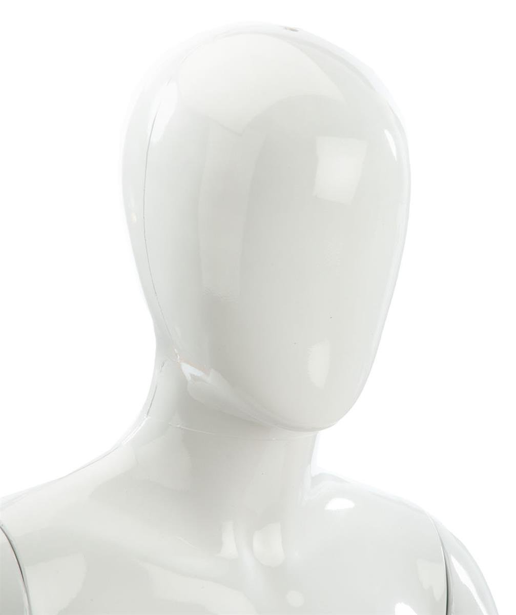 Displays2go Glossy White Polypropylene Child Youth Mannequin Form 51-Inch