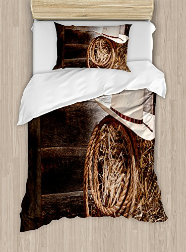 Western Duvet Cover Set by Ambesonne, American West Rodeo Hat with Traditional Ranching Robe on Wooden Ground Folk Art Photo, 2 Piece Bedding Set with 1 Pillow Sham, Twin / Twin XL Size, Brown Beige
