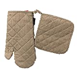 Two Lumps of Sugar Oven and Potholder and Mitts Set of 2 (Tans Stripes)