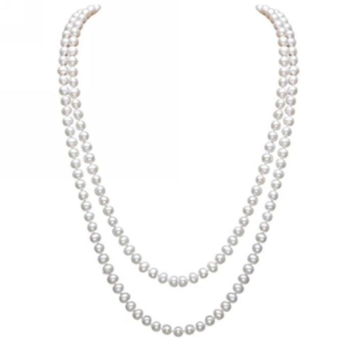 1d712c8bf9d4 Elegante collar largo para mujer con cadena de cuentas de perlas  artificiales