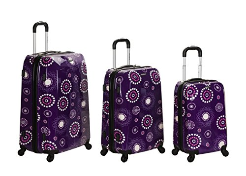 Rockland Luggage Vision Polycarbonate 3 Piece Luggage Set, Purple Pearl, One Size - Polycarbonate 3 Piece