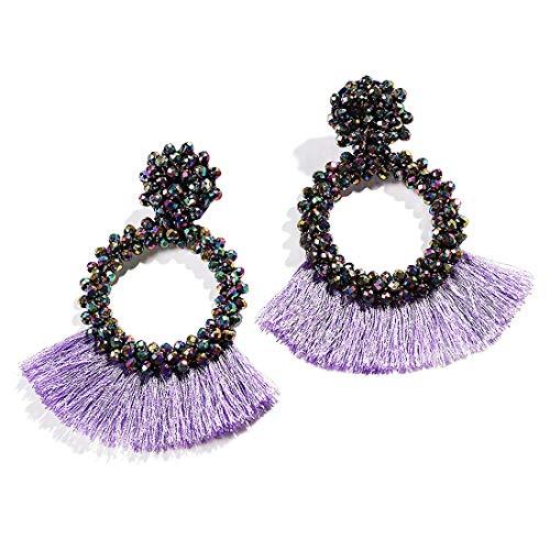 - Dvacaman Hoop Tassel Earrings for Women - Statement Handmade Beaded Fringe Dangle Earrings, Idea Gift for Mom, Sister and Friend (Purple)