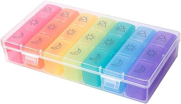 SUPVOX Caja Colorida Semanal 21 Rejillas para Organizar Pastillas Estuche para Tabletas: Amazon.es: Salud y cuidado personal
