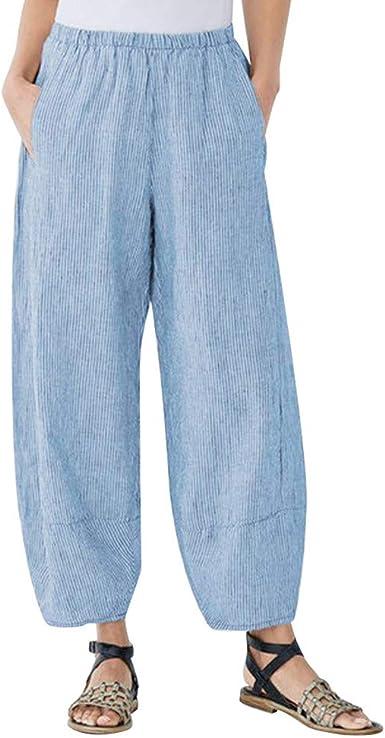 MOVERV-Pantalones Holgados pantalones de algodón y lino con el bolsillo de la pierna pantalones anchos para Mujeres Blue XL: Amazon.es: Ropa y accesorios