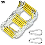 VOVI Escape Ladder, Fire Rescue Ladder,Emergency Fire Escape Ladder Flame Resistant Safety Rope Ladder with Hooks - Compact & Easy to Store - Reusable - 3M/5M Weight Capacity Up to 460 Kg