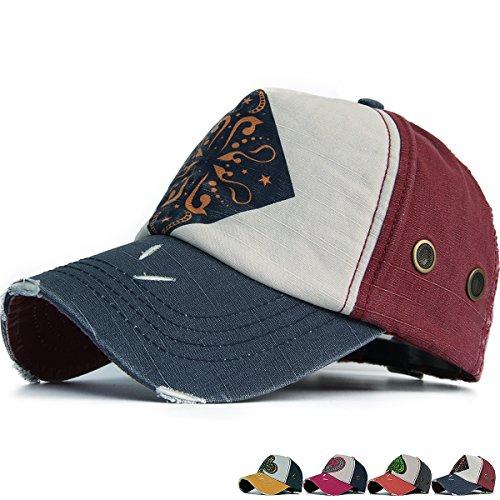 (REDSHARKS Vintage Distressed Baseball Cap Trucker Hat Printed Ventilation Eyelets Poker Cards)