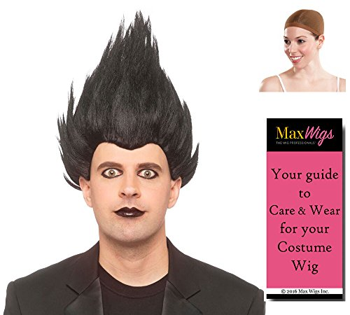 Reaper Death Note Color Black - Enigma Wigs Straight Up Troll Comic Anime Goth Bundle w/Cap, MaxWigs Costume Wig Care Guide ()