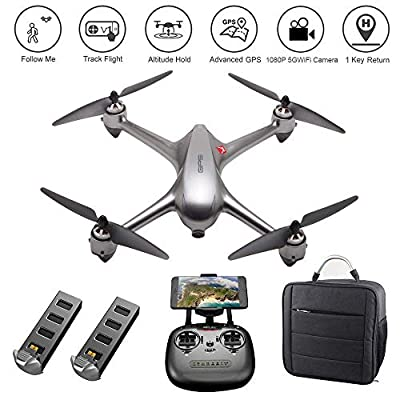 MJX Bugs 2 SE GPS Drone App Operation iOS Android FPV Drone Kit 1080P Camera Record Video 1-Key RTH Altitude Hold Track Flight Headless Brushless Motor, Bonus Battery, Built-in Camera from PinPle
