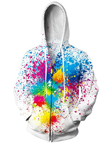 Boys Graffiti - Uideazone Collage 3d Colorful Graffiti Zip Up Pullover Hooded Sweatshirts Hip Hop Costume Jacket Coat White