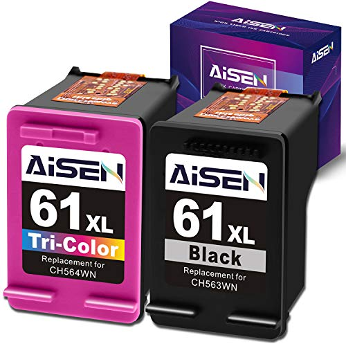 AISEN Remanufactured HP Ink Cartridge 61 Replacement for HP 61XL 61 XL Used in Envy 4500 5530 5535 Deskjet 1000 1056 1510 1512 1010 1055 2540 2542 3050 3510 3050A Officejet 2620 (1 Black 1 Tri-Color) (Hp Xl Ink)