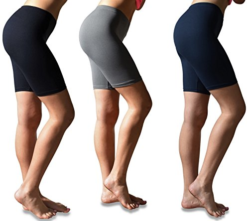 (Sexy Basics Womens 3 Pack Buttery Soft Brushed Active Stretch Yoga Bike Short Boxer Briefs (3 Pack- Black/Charcoal/Navy, Medium))