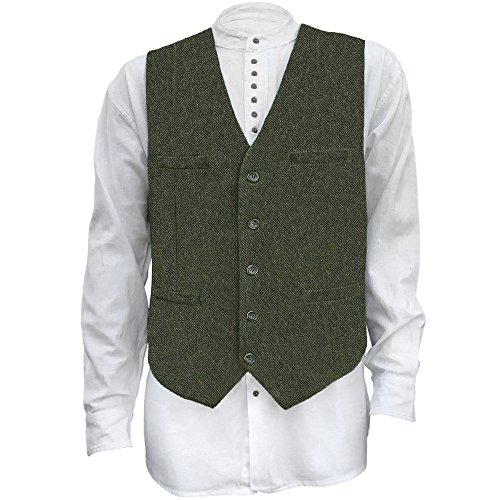 Men's Irish Full Back Herringbone Tweed Wool Blend Vest in 3 Traditional Color Choices (Olive, L)