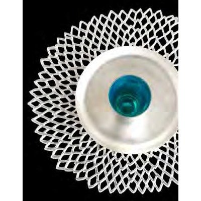 - Chilewich Dahlia Pressed Vinyl Round Placemat, Silver Set of 8