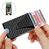 Money Clip, totobay Double-Sided Slim Wallet RFID Blocking Carbon Fiber Money Clip for Men Multi-functional Business Card Holder Upscale Carbon Fiber wallet Gifts