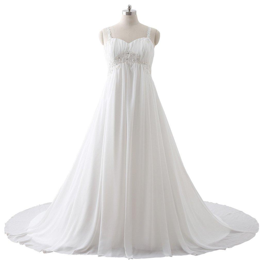 PuTao Women's Plus Size Appliques Beads White Bride Wedding Bridesmaid Gowns