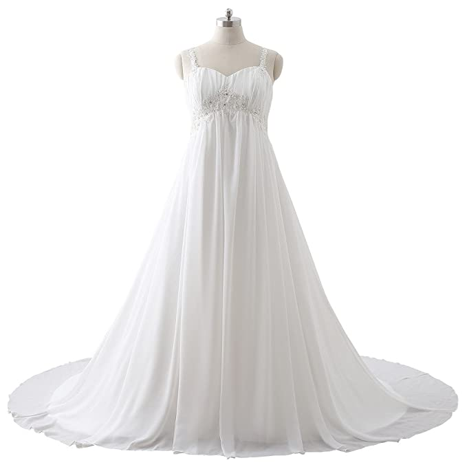 c749fa1f4907 BoShi Women's Plus Size Appliques Beads White Bride Wedding Bridesmaid Gowns  US 02