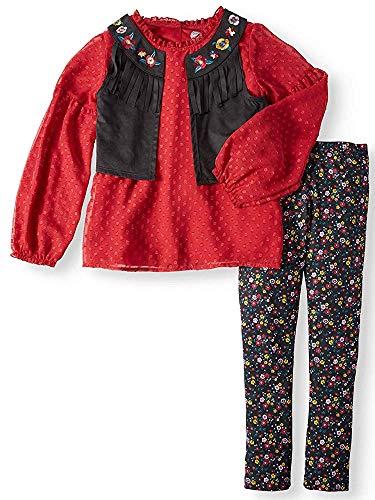 (Wonder Nation Boho Vest, Lace Top and Legging 3-Piece Outfit Set (M7/8) Black)