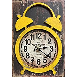 Manual Yellow Distressed Wood Vintage Double Bell Look Mantel Desk Clock IOCLCY 9x13