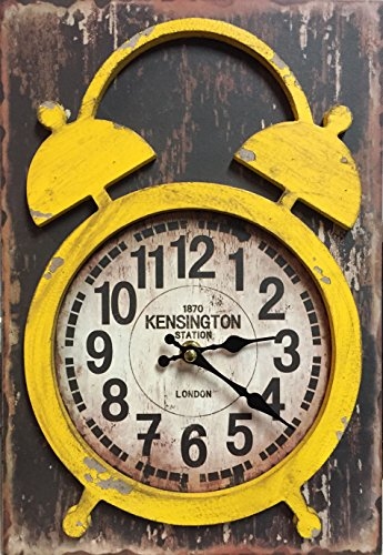 Tabletop Wood Clock (Manual Yellow Distressed Wood Vintage Double Bell Look Mantel Desk Clock IOCLCY 9x13