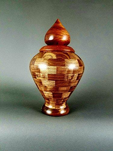 SEGMENTED MAHOGANY URN. Mediterranean Urn