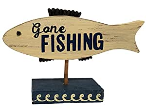 Lake House Decor Fishing Themed Wooden Table Top Signs (Gone Fishing)