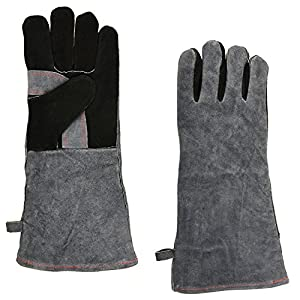 NKTM Leather Welding Gloves EXTREME HEAT RESISTANT & WEAR RESISTANT - For Tig Welders/Mig/Fireplace/Stove/BBQ/Gardening, Gray / Blue - 16In by NKTM