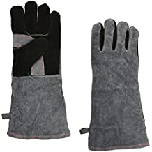 NKTM Leather Welding Gloves EXTREME HEAT RESISTANT & WEAR RESISTANT - For Tig Welders/Mig/Fireplace/Stove/BBQ/Gardening, Gray - 16In