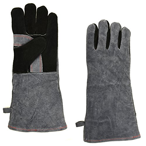 01 Barbecue - NKTM Leather Welding Gloves EXTREME HEAT RESISTANT & WEAR RESISTANT - For Tig Welders/Mig/Fireplace/Stove/BBQ/Gardening, Gray - 16In