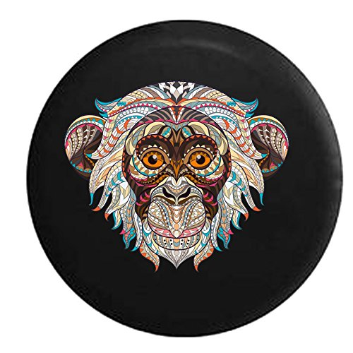 - Chimpanzee Monkey Mosaic Tile Jeep RV Spare Tire Cover Black 29 in