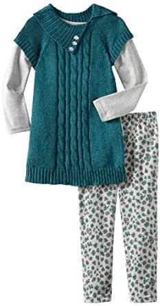 Little Lass Little Girls' Toddler 3 Piece Sweater Set With Buttons, Teal, 2T
