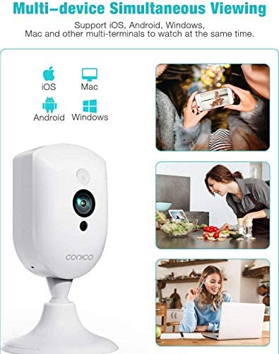 Baby Monitor, Conico 1080P Home Security Camera with Sound Motion Detection IR Night Vision, Home Camera with 2- Way Audio 8X Zoom, WiFi Camera Cloud Service Compatible with Alexa, 2.4G WiFi