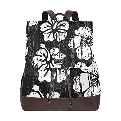 YCHY Custom Made Backpack Grunge Black White Hibiscus Seamless Tile Lightweight Travel PU leather Bag Oversize Student School Bookbag Daypack Hiking Knapsack