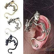 Bling Beauty Retro Vintage Black Silver Bronze Punk Temptation Metal Dragon Bite Ear Cuff Clip Wrap Earring Ea