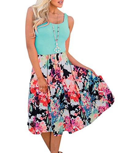 MEROKEETY Womens Summer Sleeveless Floral Print Contrast Tank Top Midi Dress with Pockets