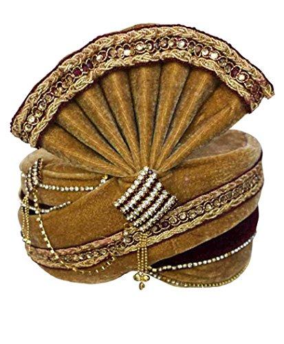 INMONARCH Mens Traditional Wedding Turban Pagari Safa Groom Hats TU1087 22-inch Brown by INMONARCH