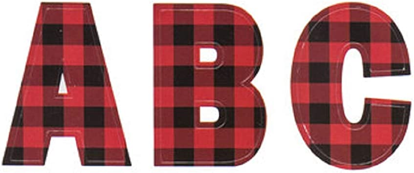Capital Letter R StikArt Red /& Black Lumberjack Plaid Letters for Personalized Custom Name Wall Decals