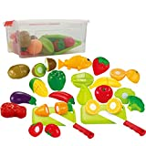 35 piece Cutting Food Play set Fruits & Vegetables 2 Cutting Boards in a storage container