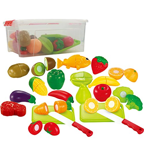 Farmers Market Fruit Set (35 piece Cutting Food Play set Fruits & Vegetables 2 Cutting Boards in a storage container)