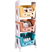 U-HOOME Kids Toys Storage Organizer Rack Shelf,Stackable Storage Bins for Toys, Snacks, Books,Bottles, Toiletries-3 Layers